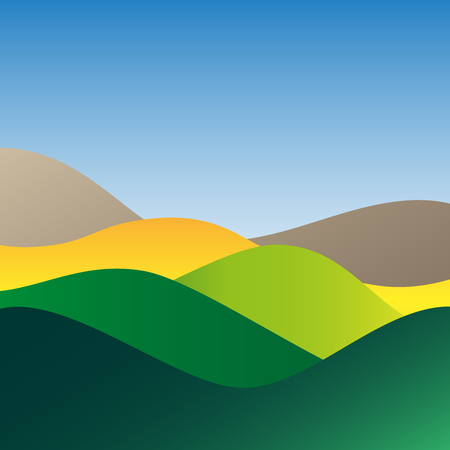 Flat design bright waves or hills on landscape. Simple template with waves in nature colors.