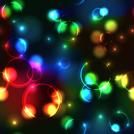 Neon rainbow bokeh effect seamless pattern. Dark background with Glowing sparkling circles and rings in spectrum colors.