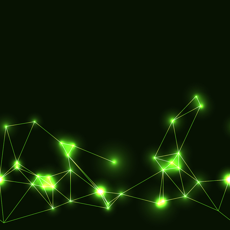 green neon seamless polygonal pattern. dark background with green neon modern technology triangular grid.
