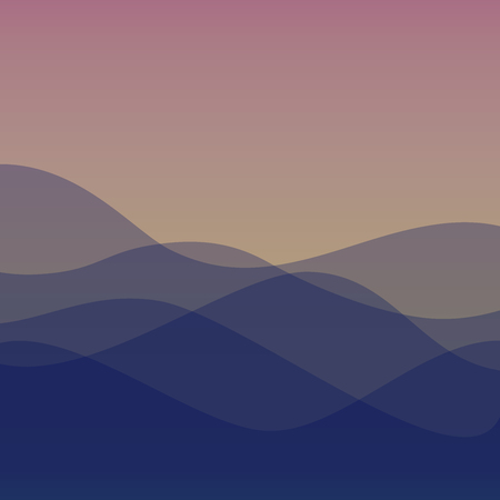 Flat design purple waves or hills on landscape. Simple template with waves in violet or sunrise colors.