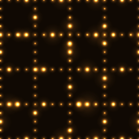 Dark seamless pattern with shinning gold neon dot grid. Glowing and sparkling network made from small circles in lines.