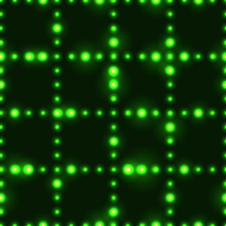 Dark seamless pattern with shinning green neon dot grid
