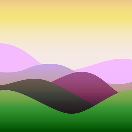 Flat design colorful waves or hills on landscape. Simple template with waves in spring colors.