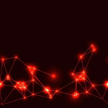 Red neon seamless polygonal pattern. Dark background with hot neon modern technology triangular grid.