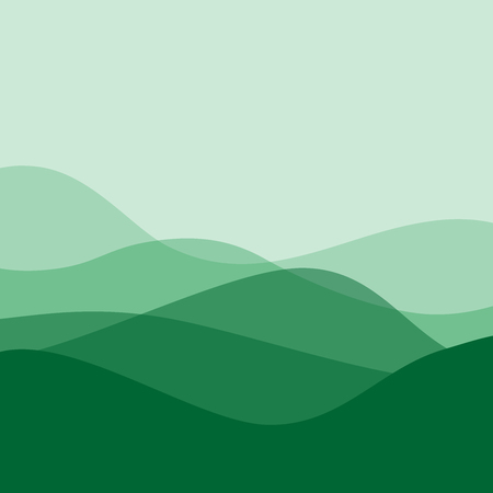 Flat design green waves or hills on landscape. Simple template with waves in green colors.