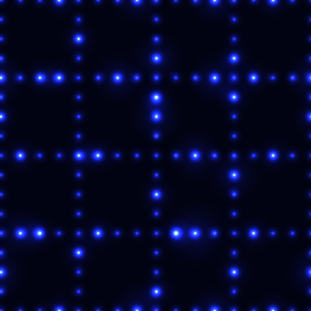 Dark seamless pattern with shinning blue neon dot grid. Glowing and sparkling network made from small circles in lines.