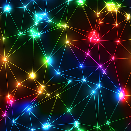 Neon rainbow low polygon seamless pattern. Dark background with Glowing sparkling laser triangle net in spectrum colors. Modern technology connecting graph with shinning points.