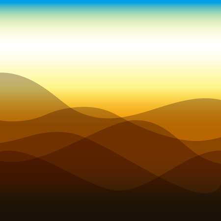 Flat design waves or hills on landscape. Simple template with waves in brown colors. Illustration