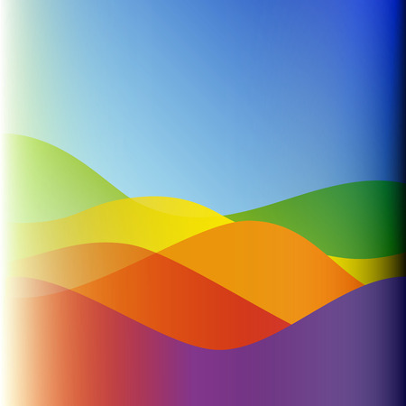 Flat design colorful waves or hills on landscape. Simple template with waves in spectrum colors.