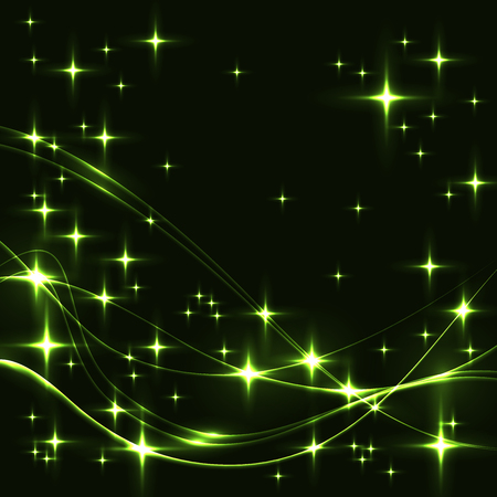 Dark background with green stars and waves. Glowing shinning stars and waves in green colors on dark sky. green stars and waves on black background.