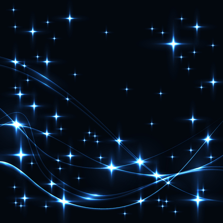 Dark background with blue stars and waves. Glowing shinning stars and waves in cold colors on dark sky. blue stars and waves on black background.