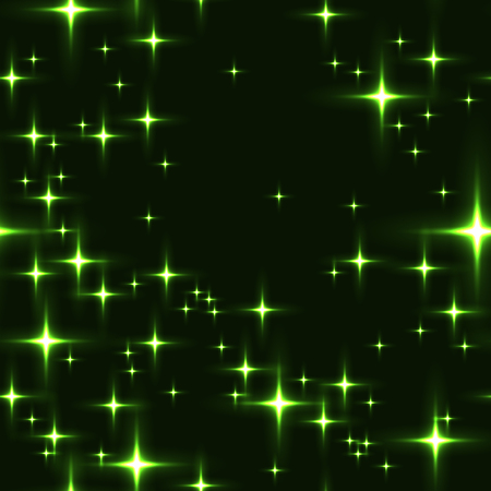 Green seamless background with shining stars. Simple green seamless pattern with lot of stars on night sky. Midnight sky full of stars with milky-way in green