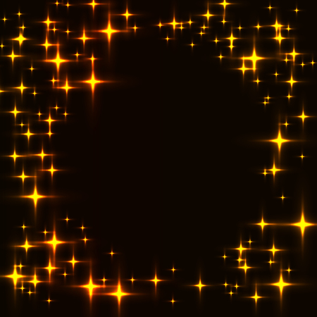 Dark template with border made from golden shinning stars. Black background with laser neon yellow and orange stars. Illustration