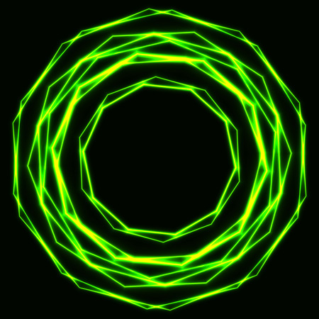 Shinning laser green magic circles. Dark background with neon   poison krypton glow rings with empty centre - place for text