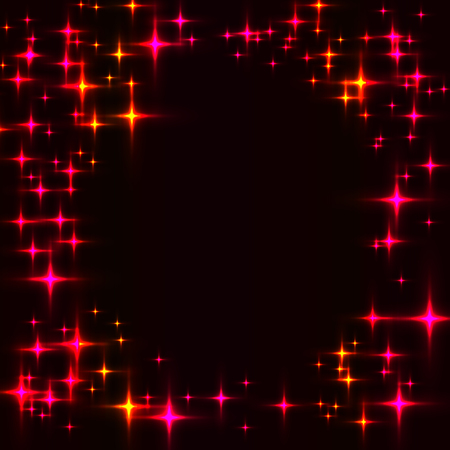Dark template with border made from hot shinning stars. Black background with laser neon red and orange stars.
