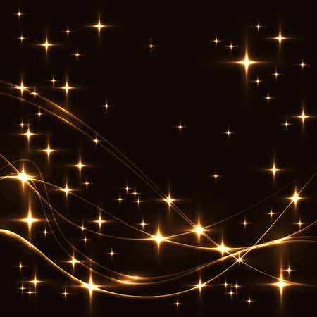 Dark background with gold stars and waves. Glowing shinning stars and waves in golden colors on dark sky. gold stars and waves on black background.