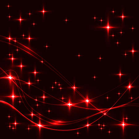 Dark background with red stars and waves. Glowing shinning stars and waves in red colors on dark sky. red stars and waves on black background.