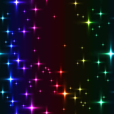 rainbow seamless background with shining stars. Simple seamless pattern with lot of stars on night sky. Midnight sky full of stars with milky-way in spectrum colors. Ilustrace