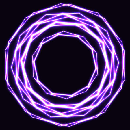 Shinning laser violet magic circles. Dark background with neon purple glow rings with empty centre - place for text