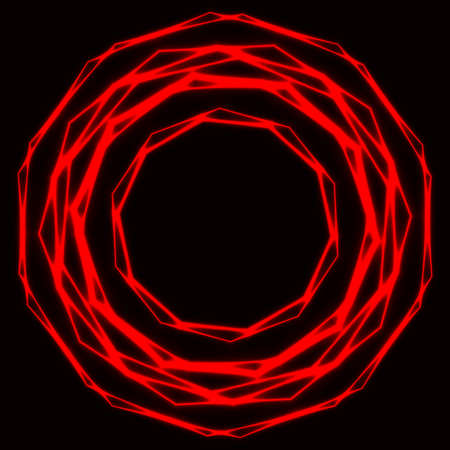 Shinning laser red  magic circles. Dark background with neon red glow rings with empty centre - place for text