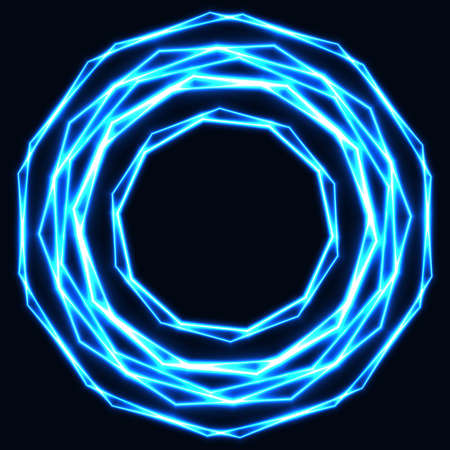 Shinning laser ice cold magic circles. Dark background with neon blue  glow rings with empty centre - place for text Ilustrace