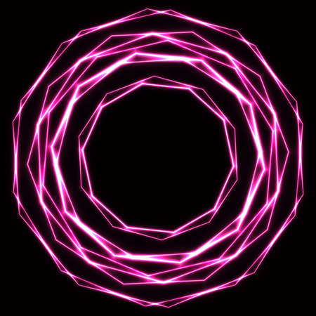 Shinning laser pink  magic circles. Dark background with neon rose glow rings with empty centre - place for text Ilustrace