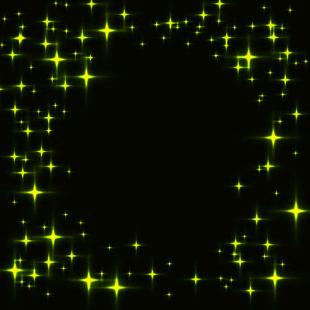 Dark template with border made from green shinning stars. Black background with laser neon green stars.