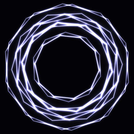 Shinning laser silver  magic circles. Dark background with neon grey glow rings with empty centre - place for text Ilustrace