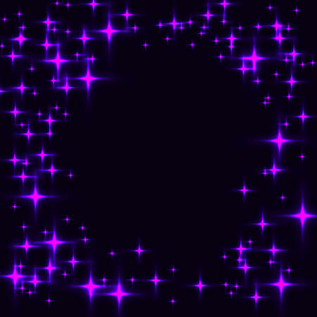 Dark template with border made from purple shinning stars. Black background with laser neon violet stars.