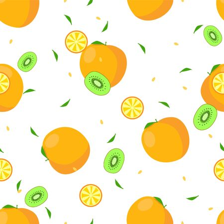 Modern fruits seamless pattern, great design for any purposes. Vector fashion background.