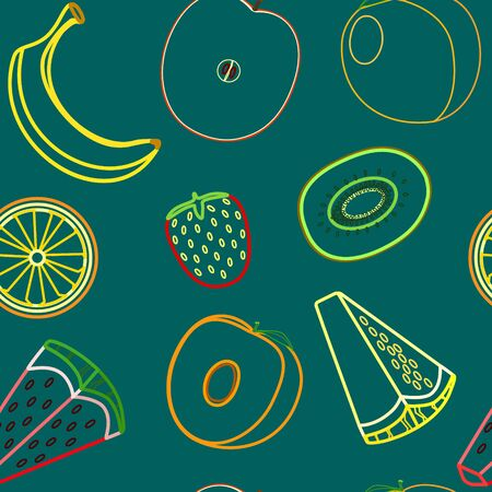 Modern fruits seamless pattern, great design for any purposes. Line concept art. Vector fashion background.