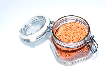 medium size: Orange Lentils in a glass jar. Red Chief Lentils are a medium size quick cooking lentil