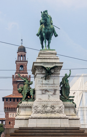 sforzesco: Giuseppe Garibaldis statue in front of Sforzesco Castle