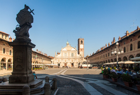 existed: Reinassance Ducale square in Vigevano, near Milan, Italy Editorial