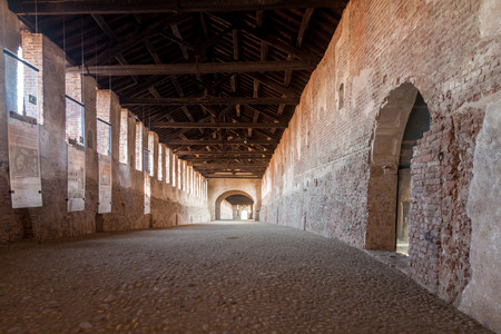strives: Covered Road, Reinassance building in the Visconti-Sforza castle in Vigevano Editorial