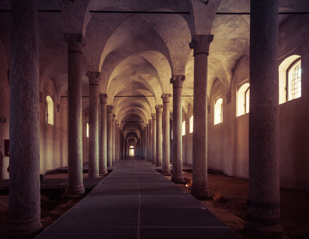 vinci: Ancient Stables, designed by Leonardo da Vinci, in Vigevano, Italy Editorial