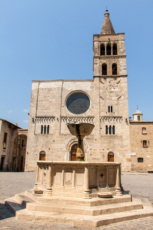 bevagna: Silvestri square with its church and fountain in Bevagna, Umbria Stock Photo