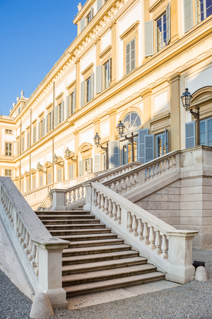 Marble Stairs at the entrance of Villa Reale of Monza, Italy. Near Milan, Lombardy