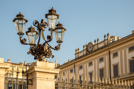 monza: Lamp post in front of Villa Reale of Monza, near Milan, Italy