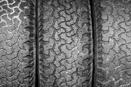 traction: texture of old  and dirty black tyres