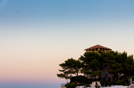 crepuscle: tower rises from the pine trees at sunset Stock Photo