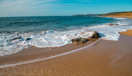 Rock and waves in a sunny day. Gutturu e Flumini, Arbus, Sardinia
