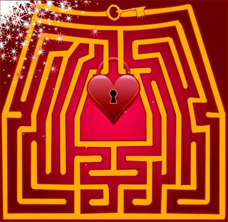 Postcard maze of love illustration Vector