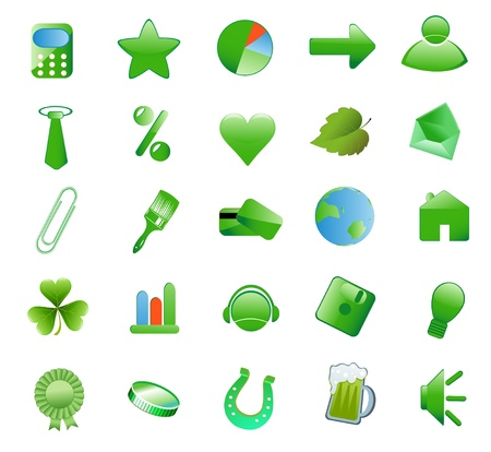 Set green icons for Web Applications Vector