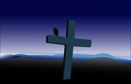 christian cross and wings: Cross and raven illustration Illustration