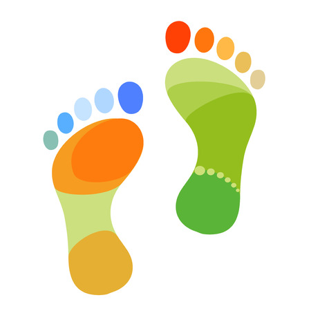 green footprint: Abstract multicolored foot