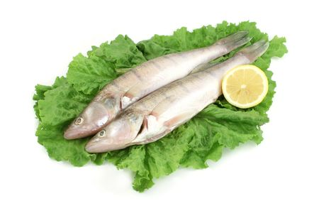 silver perch: two fishes on lettuce and lemon Stock Photo