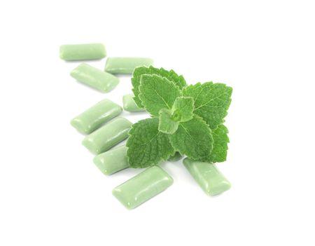 bubblegum: bubblegum with mint isolated on white
