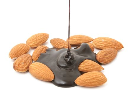 almond biscuit: almonds with chocolate isolated on white Stock Photo