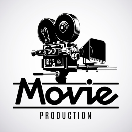 Video production logo design template. Old fashioned movie Stock Illustratie